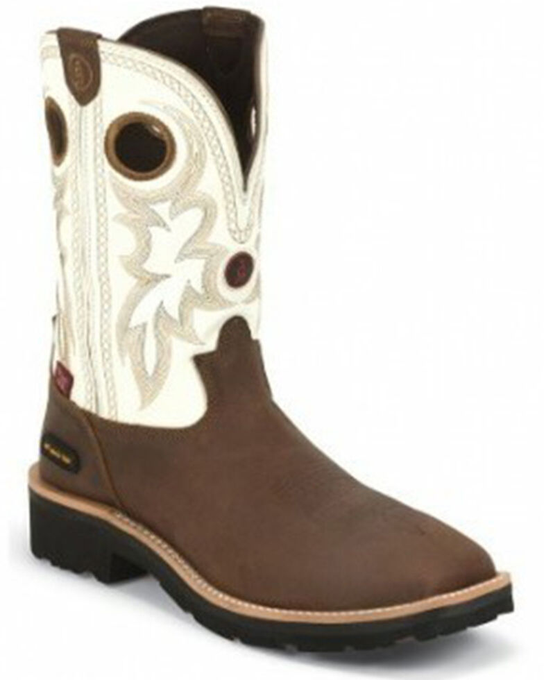 Tony Lama Men's Fireball Western Work Boots - Composite Toe, Bark, hi-res
