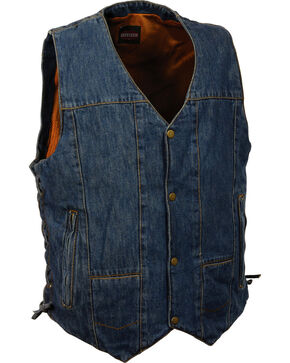 Milwaukee Leather Men's 10 Pocket Side Lace Denim Vest - 4X, Blue, hi-res