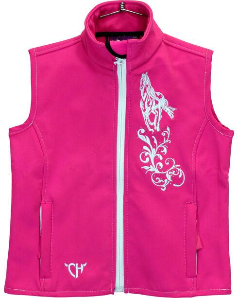 Cowgirl Hardware Girls' Leander Horse Poly Shell Vest, Pink, hi-res