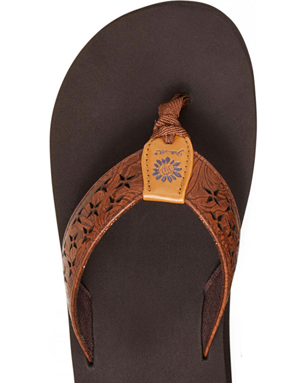Yellow Box Women's Benji Laser Cut Thong Sandals, Dark Brown, hi-res