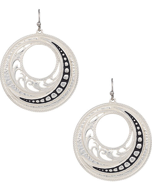 Montana Silversmiths Woman's Western Lace Winding Earrings , Silver, hi-res