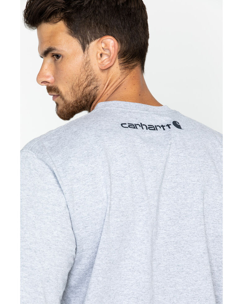 Carhartt Men's Signature Logo Sleeve Knit T-Shirt - Big & Tall, Hthr Grey, hi-res