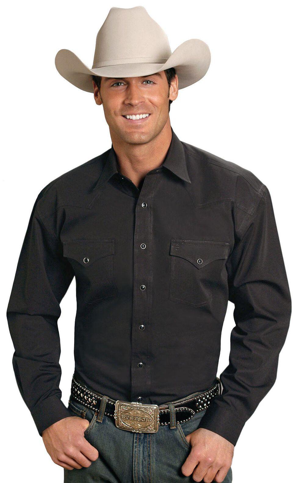 Stetson Solid Snap Oxford Shirt, Black, hi-res