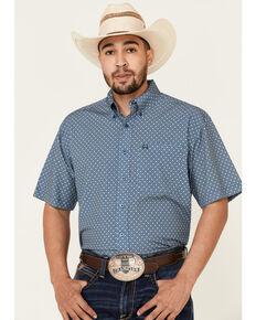 Cinch Men's ArenaFlex Blue Small Geo Print Short Sleeve Western Shirt , Blue, hi-res