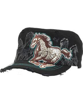 Western Express Women's Black Vintage Running Horse Rhinestone Cadet Cap, Black, hi-res