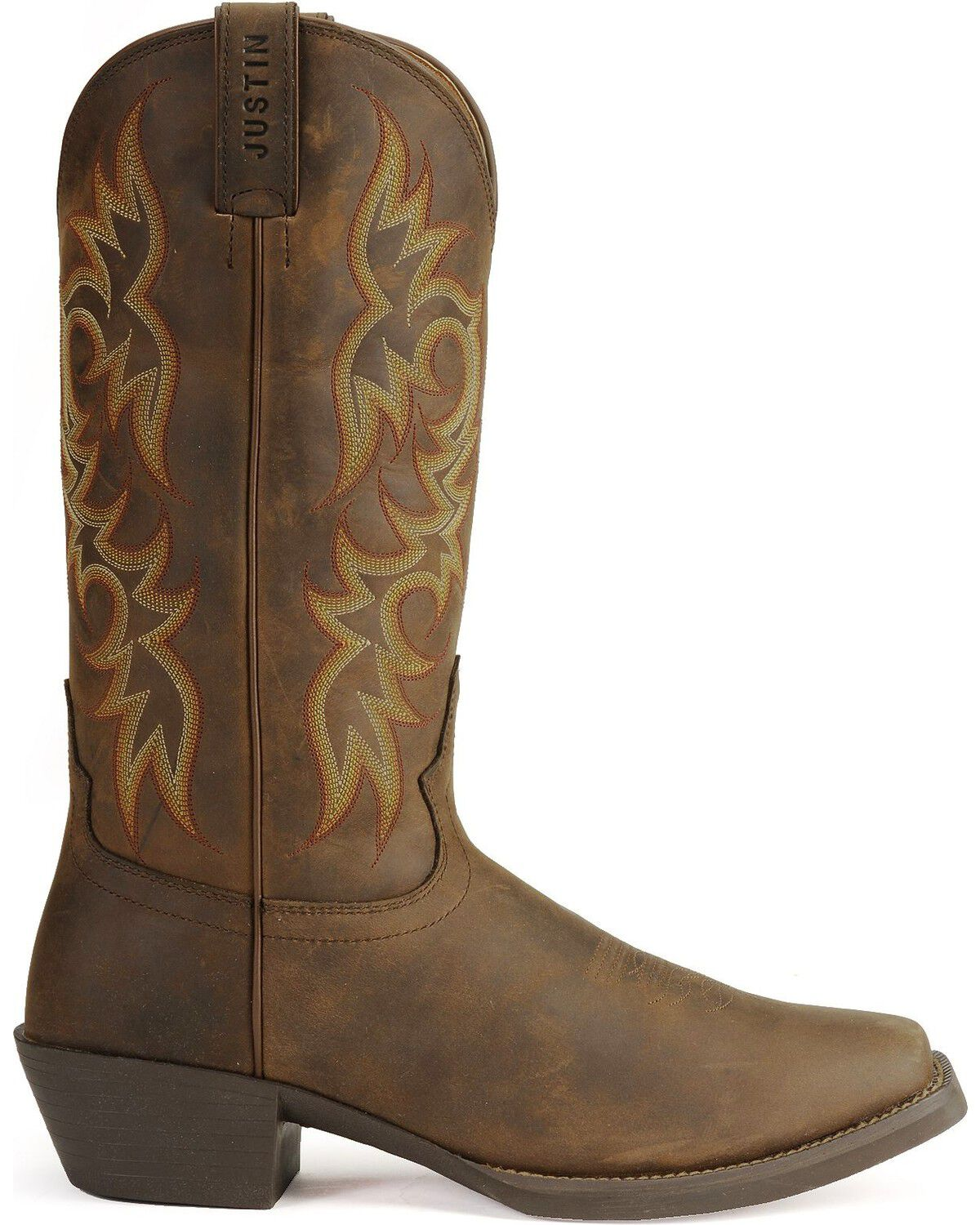 Justin Stampede Western Apache Cowboy Boots , Square Toe