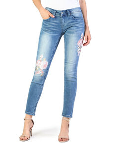 Grace In LA Women's Fashion Denim Floral Detail Skinny Jeans, Indigo, hi-res
