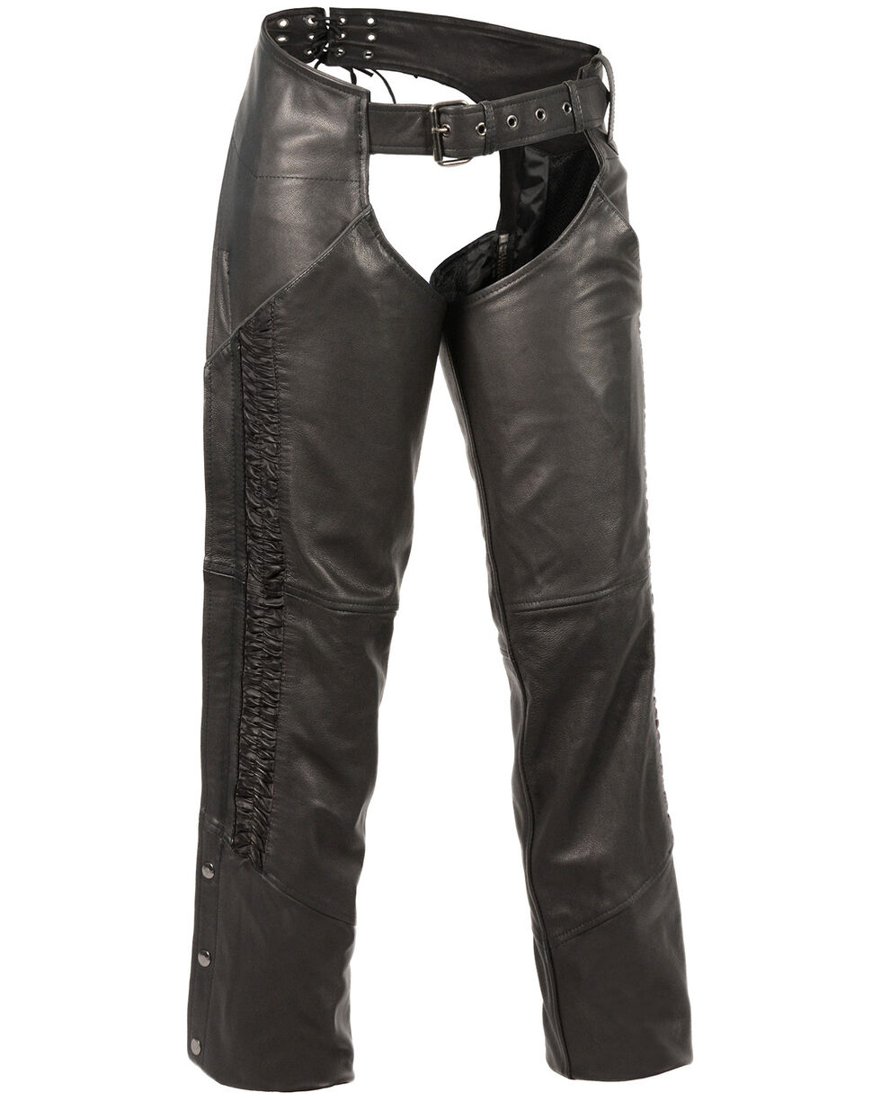 Milwaukee Leather Women's Crinkled Leg Striping Chaps , Black, hi-res