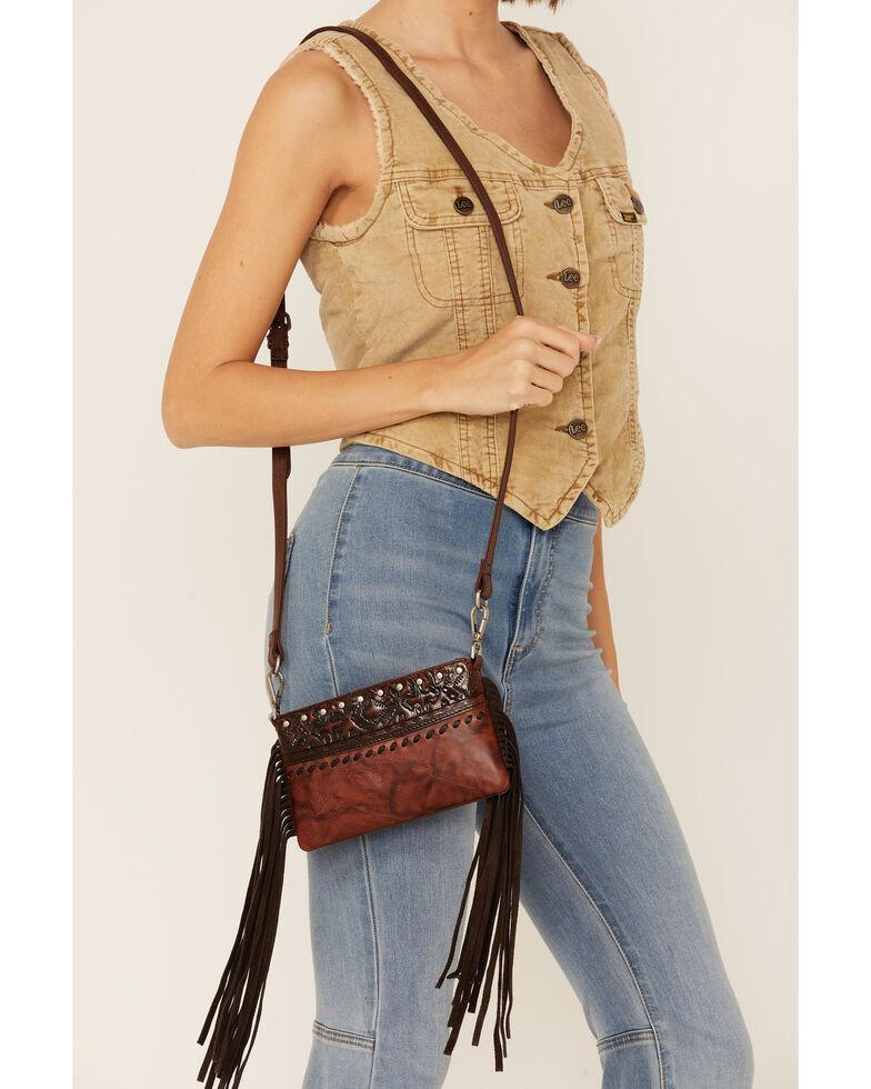 Shyanne Women's Fringe Crossbody Bag, Cognac, hi-res