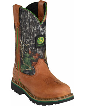 John Deere Camo Leather Cowgirl Boots - Round Toe, Tan, hi-res