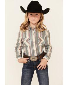 Panhandle Girls' Multi Striped Print Long Sleeve Snap Western Shirt , Multi, hi-res