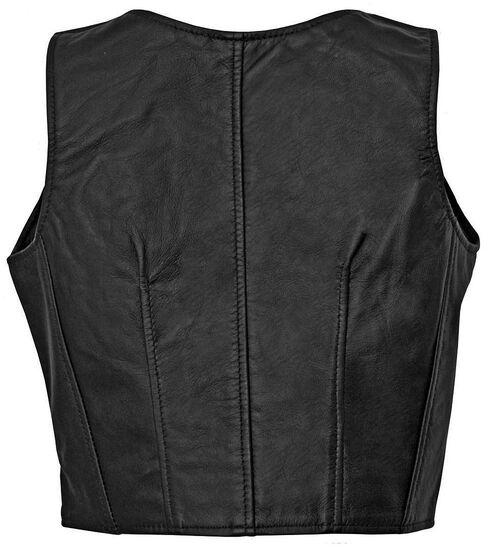 Milwaukee Studded Illusion Leather Vest, Black, hi-res