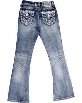 Grace in LA Girls' Pink Aztec Stitch Jeans - Boots Cut , Blue, hi-res
