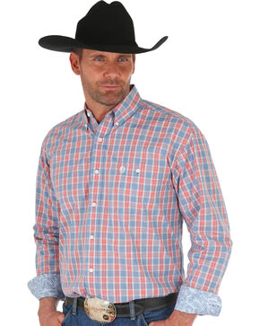 Wrangler George Strait Men's Blue Plaid Shirt , Blue, hi-res