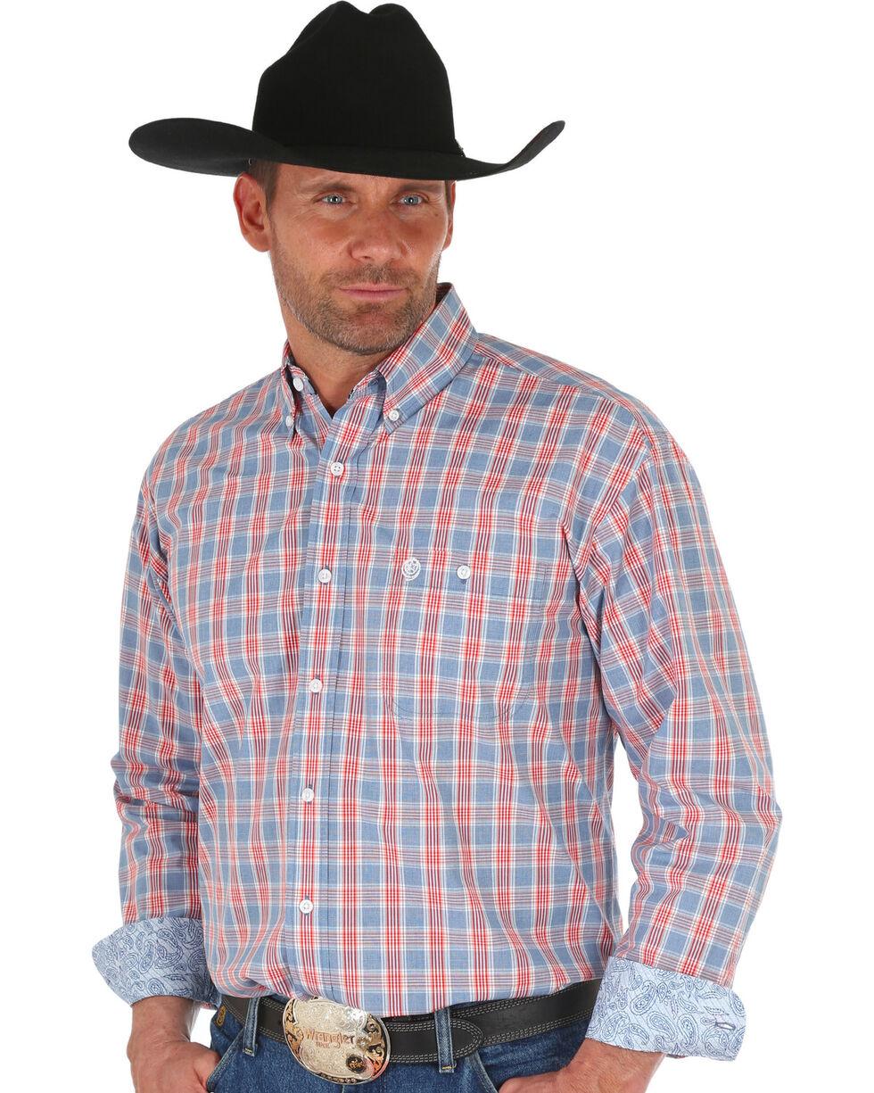 George Strait by Wrangler Men's Blue Large Plaid Long Sleeve Western Shirt , , hi-res