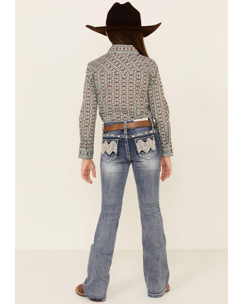 Grace In LA Girls' Medium Wash Embellished Chevron Pocket Bootcut Jeans, Blue, hi-res