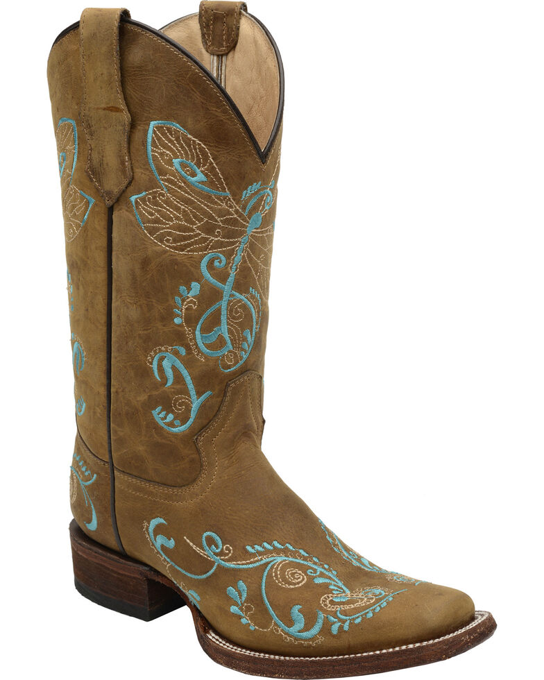 Circle G Tan Embroidered Dragonfly Cowgirl Boots - Square Toe , Tan, hi-res