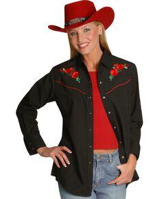 Ely Embroidered Red Roses Vintage Western Cowboy Shirt, Black, hi-res