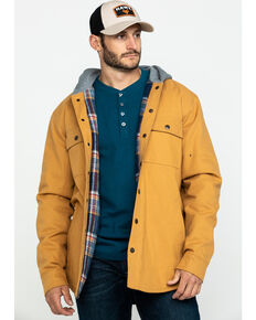 Hawx Men's Khaki Flannel Lined Hooded Canvas Shirt Work Jacket - Tall , Brown, hi-res