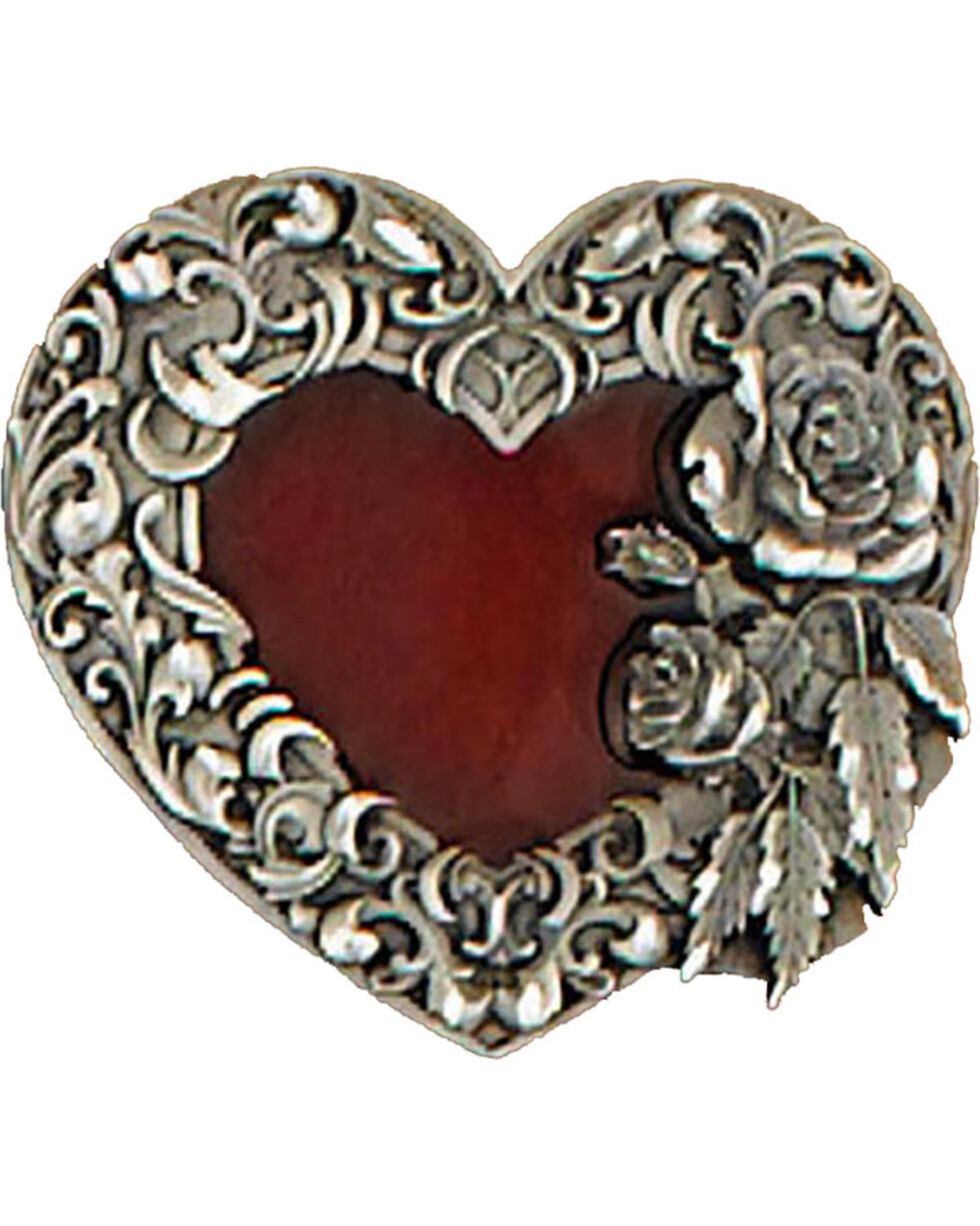 Western Express Women's Red Enameled Heart Belt Buckle , Red, hi-res