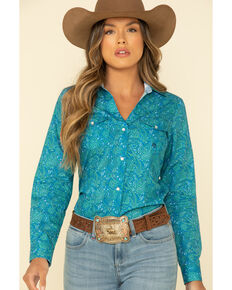 Amarillo Women's Blue Print Long Sleeve Western Shirt, Turquoise, hi-res