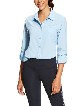 Ariat Women's Powder Blue VentTek II Long Sleeve Shirt, Light Blue, hi-res