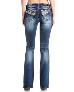 Miss Me Women's Open Wing Embroidered Pocket Boot Jeans  , Blue, hi-res