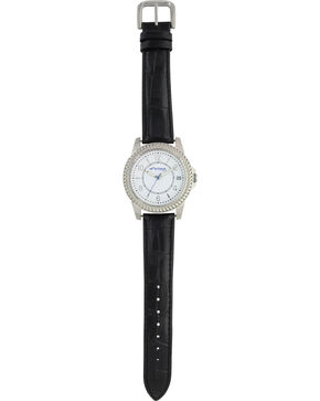Montana Silversmiths Montana Black Bark Leather Watch, Black, hi-res