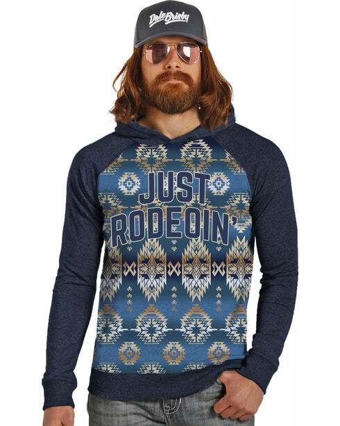 Dale Brisby by Rock & Roll Cowboy Men's Just Rodeoin' Hoodie , Navy, hi-res