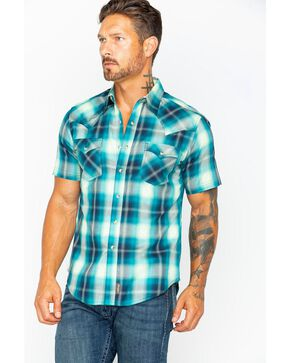 Wrangler Men's Green Retro Plaid Short Sleeve Shirt , Green, hi-res