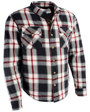 Milwaukee Performance Men's Aramid Reinforced Plaid Flannel Biker Shirt - 4X, Black/red, hi-res