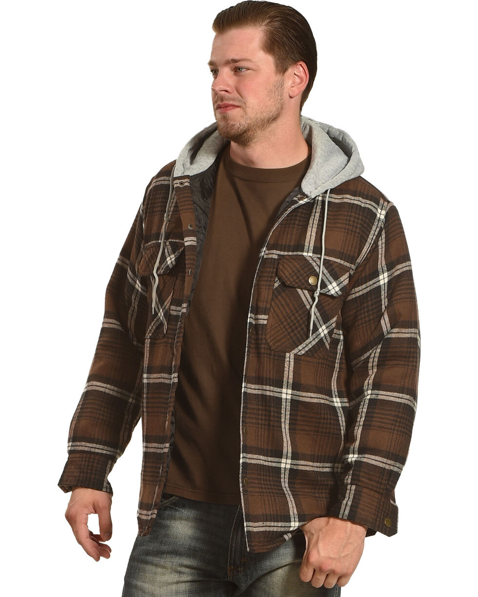 Victory Rugged Wear Men's Hooded Flannel Snap Shirt Jacket, Brown, hi-res