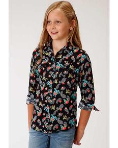Roper Girls' Blue Paisley Print Long Sleeve Snap Western Shirt, Black, hi-res