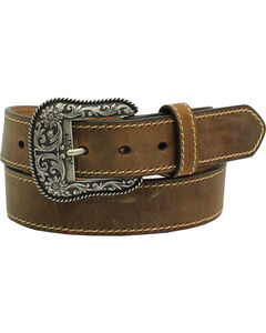 Ariat Women's Leather Belt with Engraved Buckle, Brown, hi-res