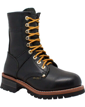 "Ad Tec Women's 9"" Black Leather Logger Boots - Soft Toe, Black, hi-res"