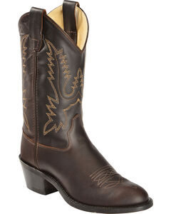 Old West Boys' Oiled Corona Leather Cowboy Boots, Rust, hi-res