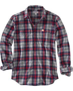 Carhartt Men's Hubbard Plaid Shirt - Big, Navy, hi-res