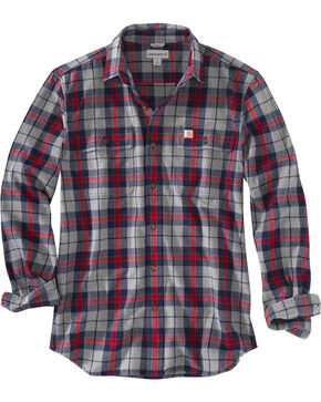 Carhartt Men's Hubbard Plaid Flannel Work Shirt - Big, Navy, hi-res
