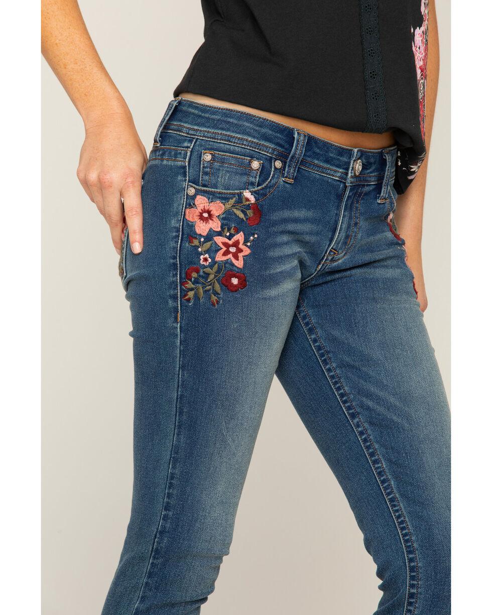 Shyanne Women's Floral Embroidered Jeans - Skinny, Blue, hi-res