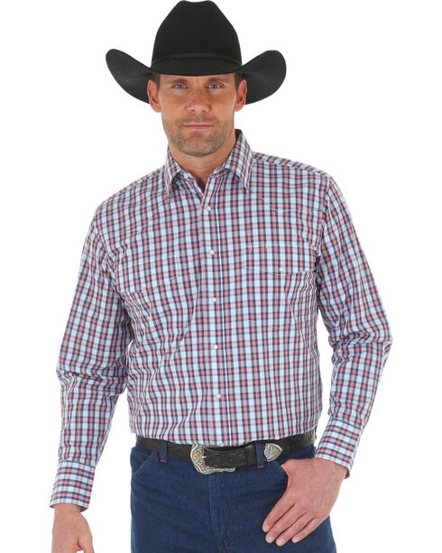 Wrangler Men's Wrinkle Resistant Navy Plaid Western Snap Shirt, Navy, hi-res