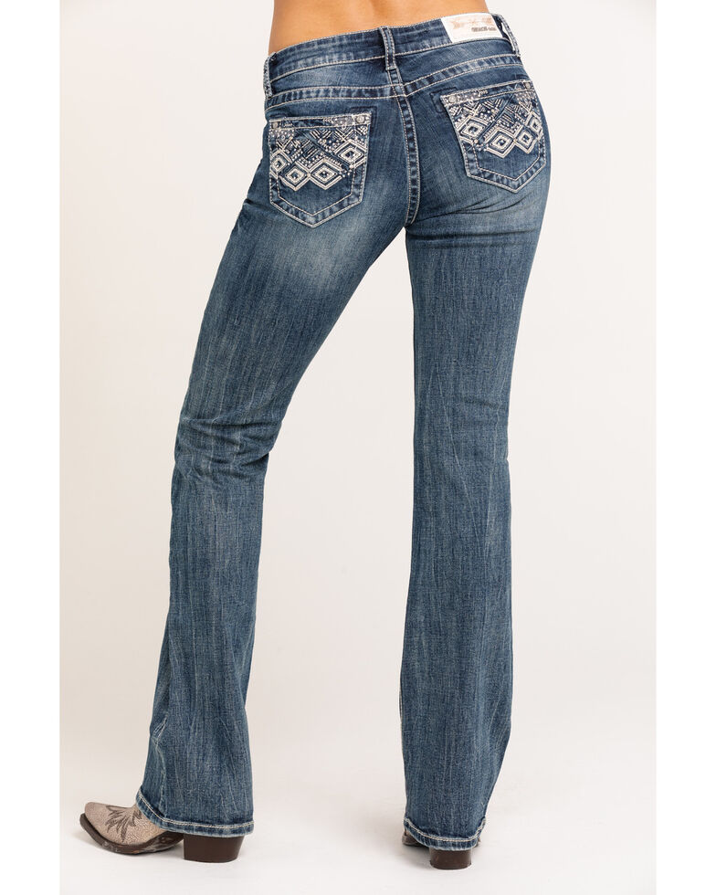 Grace in LA Women's Light Wash Aztec Bootcut Jeans, Blue, hi-res