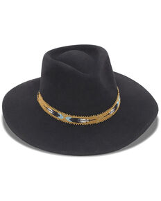 Nikki Beach Women's Black Two Feathers Western Felt Rancher Hat , Black, hi-res