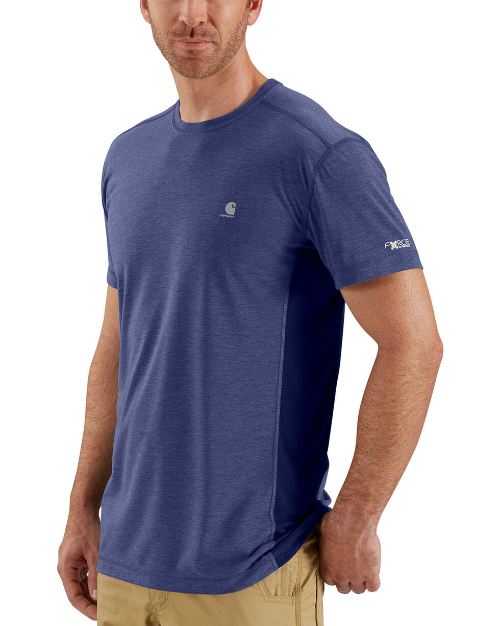 Carhartt Men's Blue Heather Force Extremes Short Sleeve T-Shirt, Blue, hi-res