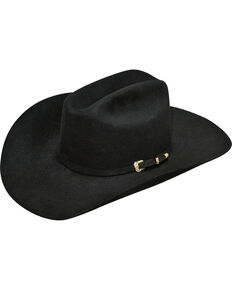 Ariat Men's 100% Fur Double S Cowboy Hat , Black, hi-res