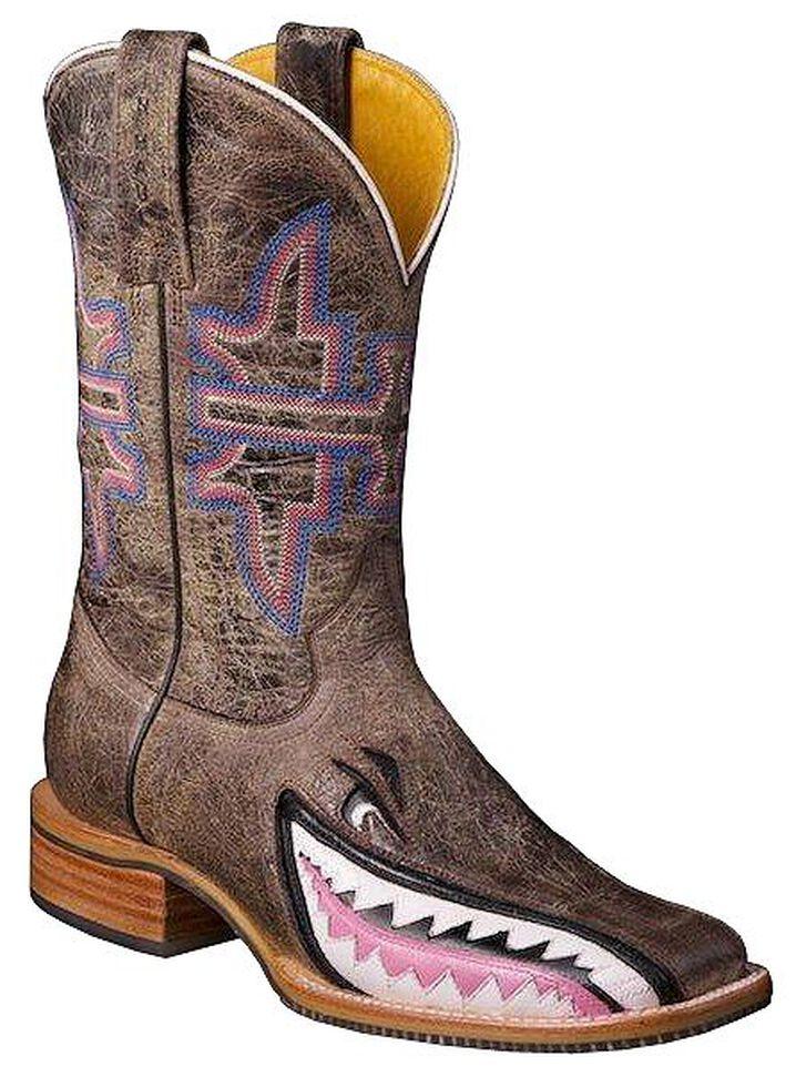 Tin Haul Man Eater Shark Cowgirl Boots - Square Toe, Dark Brown, hi-res