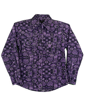 Cowgirl Hardware Toddler Girls' Peacock Long Sleeve Western Shirt, Purple, hi-res