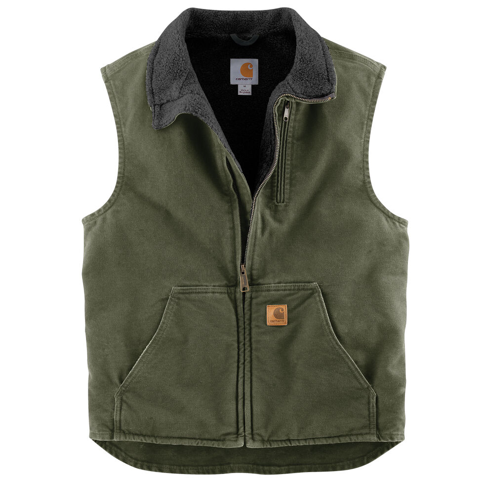 Carhartt Sherpa Lined Sandstone Duck Work Vest - Big & Tall, Moss Green, hi-res