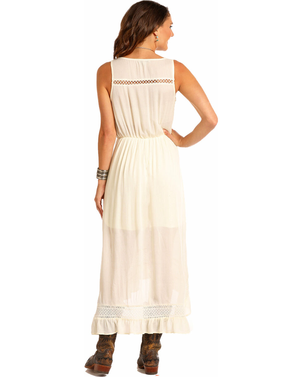 Rock & Roll Cowgirl Women's Lace Trim High-Low Dress, Ivory, hi-res