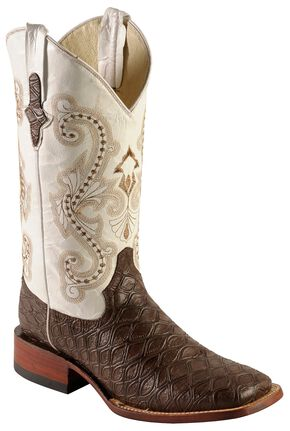 Ferrini Chocolate Anteater Print Cowboy Boots - Wide Square Toe, Chocolate, hi-res