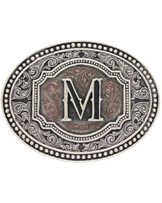 "Montana Silversmiths Men's Initial ""M"" Two-Tone Attitude Belt Buckle, Silver, hi-res"
